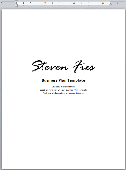 Hour Business Plan Template Validate Plan Your Startup Ideas - What does a business plan look like template
